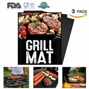 BBQ Grill Mat Set of 3 Non Stick PULNDA Baking Mats Grilling Baking Accessorie..