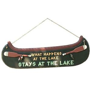 Stays At The Lake Sign Decor Home Canoe Wood Fish Lover Paddle Decorative Supply