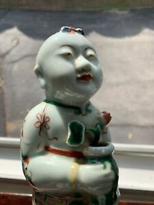 NICE CHINESE REPUBLIC PERIOD HAND PAINTED PORCELAIN ANTIQUE GUANYIN STATUE