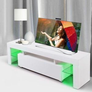 High Gloss White TV Stand Unit Cabinet Console with LED Light Shelves