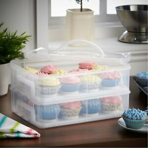 Cupcake Carrier 24 Pieces 2 Tiered Kitchen Space Holder Food Storage Containers
