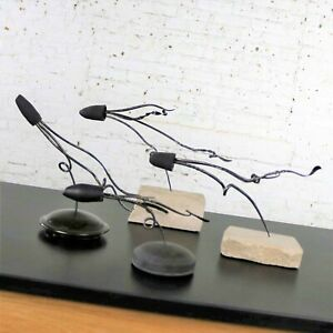 Loligo or Squid Metal Sculptures on Stone and Ceramic Bases by Larry Peters $495.00