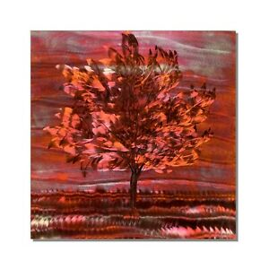 Modern Copper Metal Wall Sculpture Abstract Contemporary Landscape Tree Wall Art