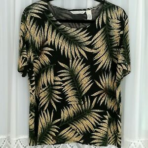 FRENCH LAUNDRY Black Gold Tropical Floral XL Scoop Neck S/S Pullover Top
