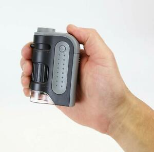 Portable Pocket Microscope LED Lighted 60x-120x Magnification Handheld Magnifier