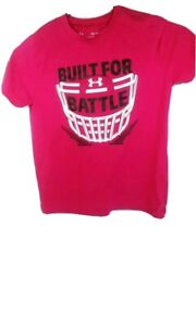 Under Armour Girls shirt YSM Small Pink Black Built for Battle Football