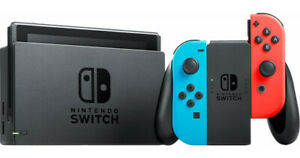 NEW Nintendo Switch 32GB Gray Console with Neon Red and Neon Blue Joy-Con