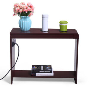 Chair Side Wood  End Table Rectangular with 2 USB Ports Contemporary
