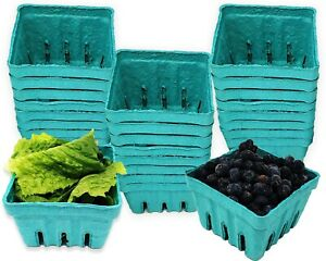 Pint Food Safe Green Molded Pulp Berry / Produce Baskets GIft Party Craft Favor