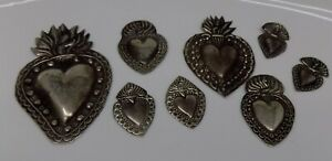 ANTIQUE LOT OLD 8 Sacred Heart Jesus Ex Voto MIRACLE MILAGRO SILVERED B-1