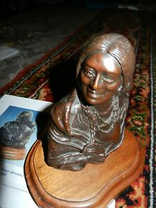 BILL CHAPPELL BRONZE INDIAN SCULPTURE SQUAW & BABY FUTURE CHIEF SIGNED # ARTIST