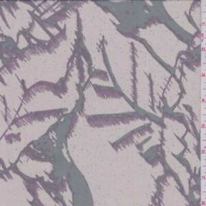 Black/Pink Tropical Leaf Crepe De Chine, Fabric By The Yard