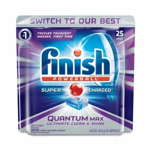 2-Pack Finish Quantum Max Powerball, Dishwasher Detergent Tablets, 25 Tablets