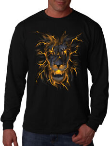 Men's Lava Lion Long Sleeve Black T Shirt Flaming Fire Glowing Beast Animal Hunt