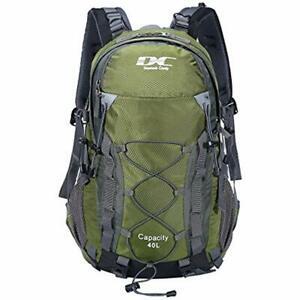 Waterproof Hiking Backpack 40L With Rain Cover Outdoor Army Green Sports