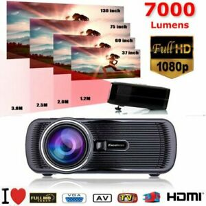 7000 Lumens 1080P LED 3D LCD VGA HDMI SD TV Home Theater Projector Cinema MS