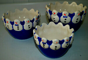 Snowman Candy Bowls Nesting Set 3 Hand Painted Nuts Snacks Blue White Christmas