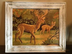 Vintage Framed Painting Deer Paint by Number PBN Complete 10 x 12 $89.00