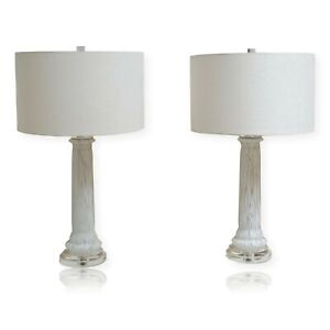 White Murano Glass Lamps on Lucite Bases