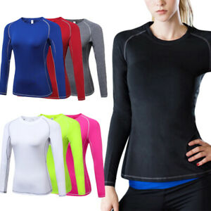 Womens Long Sleeve Sports T- Shirt Quick-Dry Yoga Compression Gym Fitness Tops