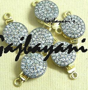 925 Sterling Silver  6 pcs. Diamond Round Beading Box Clasp