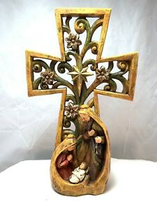 Nativity Mary Joseph Jesus Under Large Cross $19.99