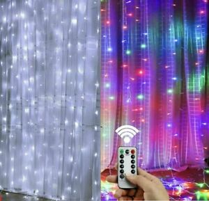 300LED/10ft Curtain Fairy Hanging String Lights Wedding Party Wall Decor Lamp US