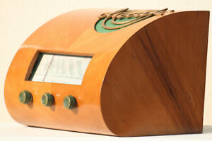 Vintage tube radio Ducati Italy moma antique wood collectible vacuum design 40's