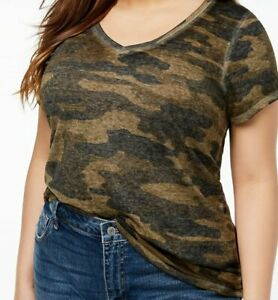 NWT LUCKY BRAND Womens PLUS SIZE 1XL  T-Shirt Top Camouflage Camo 1XL