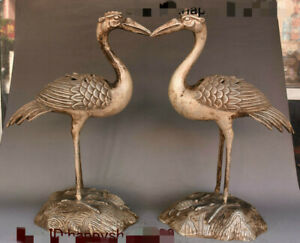 Antique China Dyansty Silver Red crowned crane Incense Burner Censer Statue Pair