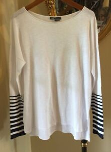 ⛵️ VINCE White Long Sleeve Cotton Knit Top Striped Sleeves NWOT S