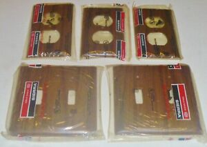5 New Sierra Dark Wood Grain Bakelite Toggle Switch Outlet Wall Plate Cover