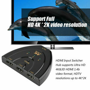 2K 4K 3Port HDMI Splitter Cable Switch Switcher HUB Adapter For HDTV PS4 Xbox PC