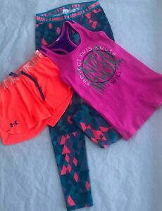 Under armor clothing Athletic Workout apparel Bundle Of 3 Pieces Girls Youth Med