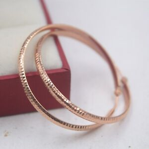 Real Pure 18K Rose Gold Hoop Women Fashion Carved Big Earrings  3.2g