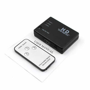 HDMI. 3 Port Switch Splitter Hub with Remote 1080p For PS3 PS4 Xbox One HDTV DL5