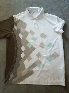 Nike Golf Fit Dri Fit Performance Abstract Polo Shirt Mens XL Extra Large White