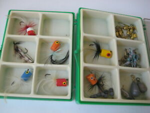 vtg FISHING LURE LOT fly fish feather popper hook old box gaines larry tobler ?