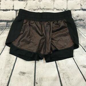 Fabletics Demi Lovato Women's Shorts Running Lined Layered Black Brown Size XS