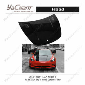 Carbon Glossy Bonnet Fit For 2018-2019 Tesla Model 3 YC Design Style Hood