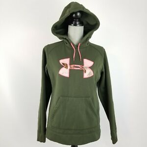 Womens Under Armour Size Small STORM Green Pink BIG LOGO Hoodie SEMI-FITTED Camo