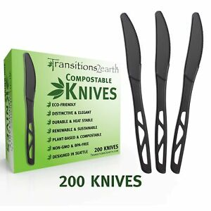 Transitions2earth Compostable Knives - Made from Corn - Box of 200 - Black - ...