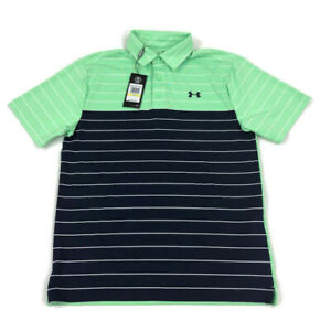 Under Armour Mens Polo Shirt Loose Golf Heatgear Green Blue Stripe Variety Sizes