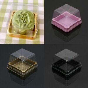 50pc 50g Clear Plastic Square Moon Cake Packaging Box Mooncake Container GBP 4.39