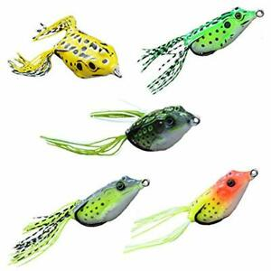 Topwater Frogs Baits Soft Plastic Fishing Lures For Bass Walleye Kit Tackle 5
