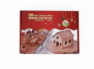 Christmas Cookie Mold Gingerbread House 3D Stainless Steel Biscuit $11.72