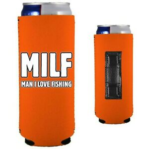 MILF Man I Love Fishing Magnetic 12 oz. Slim Can Coolie; Compatible with Claws