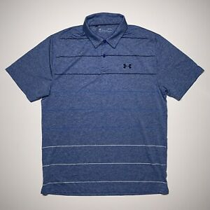 Under Armour Men's Size Large L Heat Gear Golf Polo Shirt Blue Striped Loose Fit