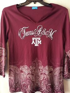 Texas A&M Aggies Womens Paisley Ombre Rhinestone Football Shirt Top Size Large L