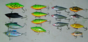 14 Large Lipless Rat L Trap Crankbaits Musky Pike Lures with Tackle Box